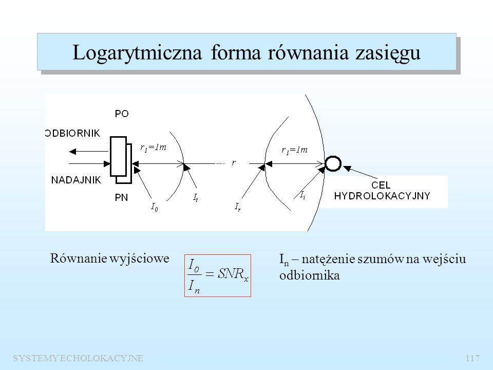 SYSTEMY ECHOLOKACYJNE116 Równanie zasięgu Cel równania zasięgu: Określenie parametrów technicznych systemu, które zapewnią wykrycie danego obiektu z z