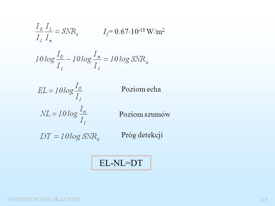 SYSTEMY ECHOLOKACYJNE117 Logarytmiczna forma równania zasięgu Równanie wyjściowe I n – natężenie szumów na wejściu odbiornika