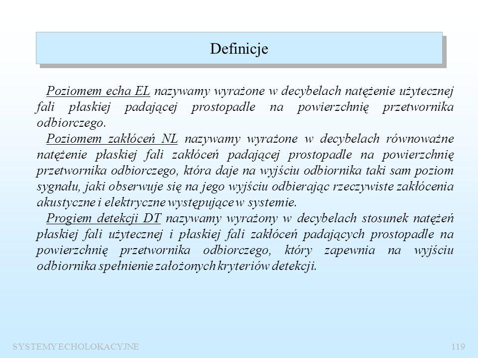 SYSTEMY ECHOLOKACYJNE118 I 1 = 0.67  10 -18 W/m 2 Poziom echa Poziom szumów Próg detekcji EL-NL=DT