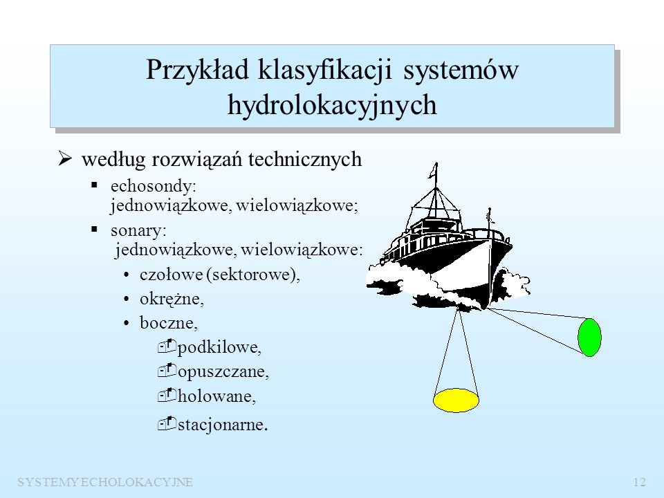 SYSTEMY ECHOLOKACYJNE11 KLASYFIKACJA ZE WZGLĘDU NA PRZEZNACZENIE RADIOLOKACYJNEHYDROAKUSTYCZNEDIAGNOSTYCZNE RADARY LOTNICZE RADARY MORSKIE ECHOSONDY S