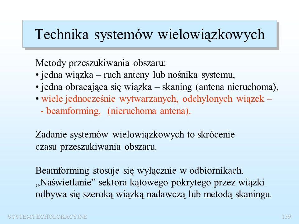 SYSTEMY ECHOLOKACYJNE138 Parametry techniczne echosondy Częstotliwość pracy50 kHz Moc nadajnika30W Poziom źródła90 dB Czas trwania impulsu sondującego
