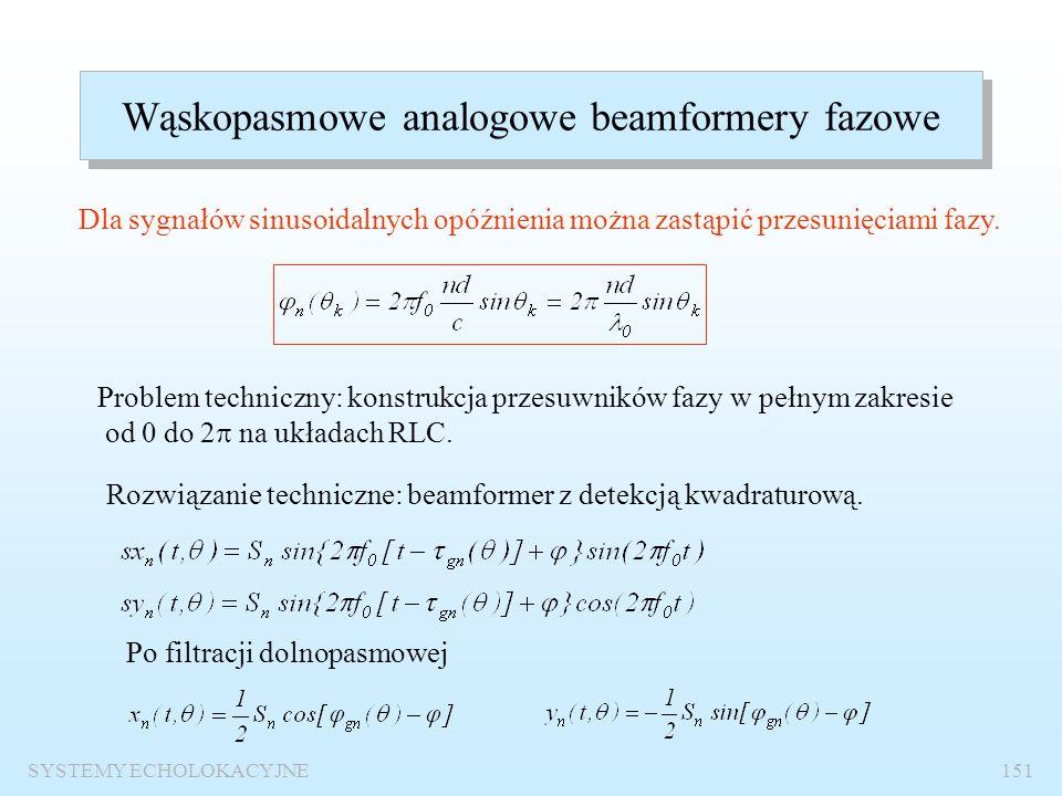 SYSTEMY ECHOLOKACYJNE150 Wpływ ważenia amplitudowego na charakterystyki kierunkowe beamformera Ważenie amplitudowe dla układu symetrycznego Ważenie am