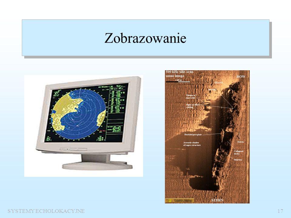 SYSTEMY ECHOLOKACYJNE16 Schemat funkcjonalny systemu echolokacyjnego Nadajnik OdbiornikZobrazowanie wiązka nadawcza wiązka odbiorcza KANAŁ zakłócenia