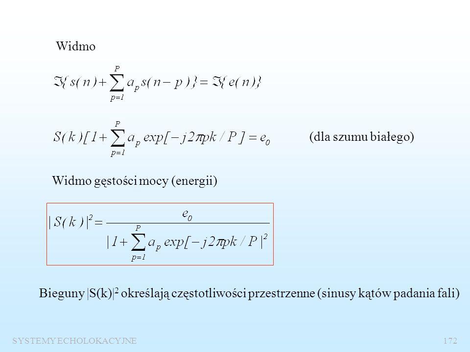 SYSTEMY ECHOLOKACYJNE171 Wysokorozdzielcze metody estymacji widma przestrzennego Podstawowa idea – metoda predykcji liniowej Hipoteza idealistyczna s(