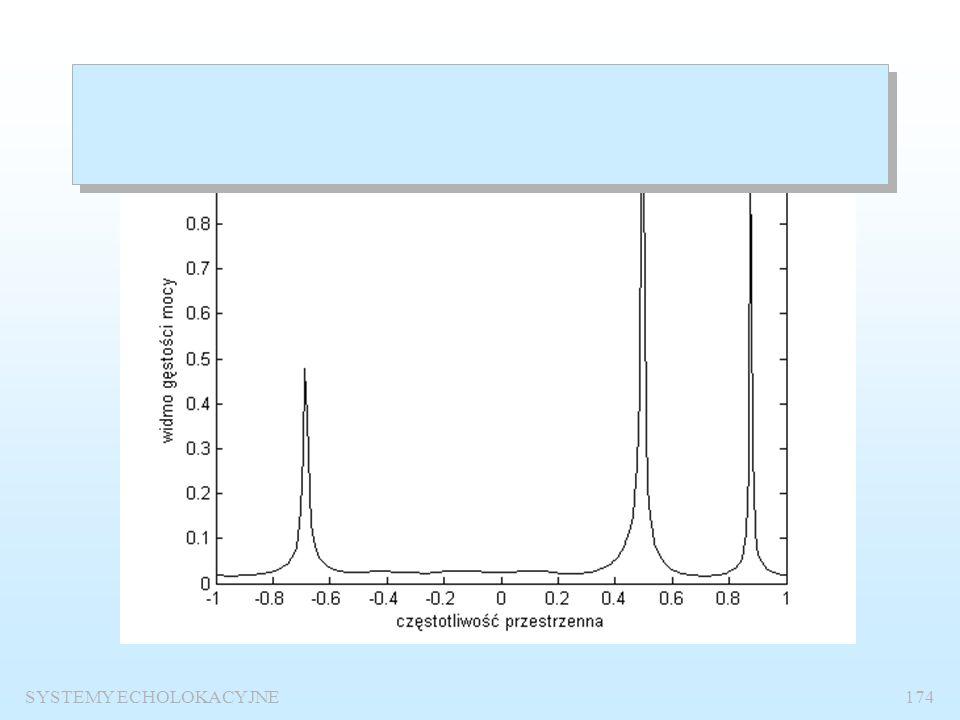 SYSTEMY ECHOLOKACYJNE173 %Program oblicza PSD metodą Burga dla trzech sygnałów sinusidalnych pobranych kwadraturowo z 32 elementów anteny % Model 8 rz