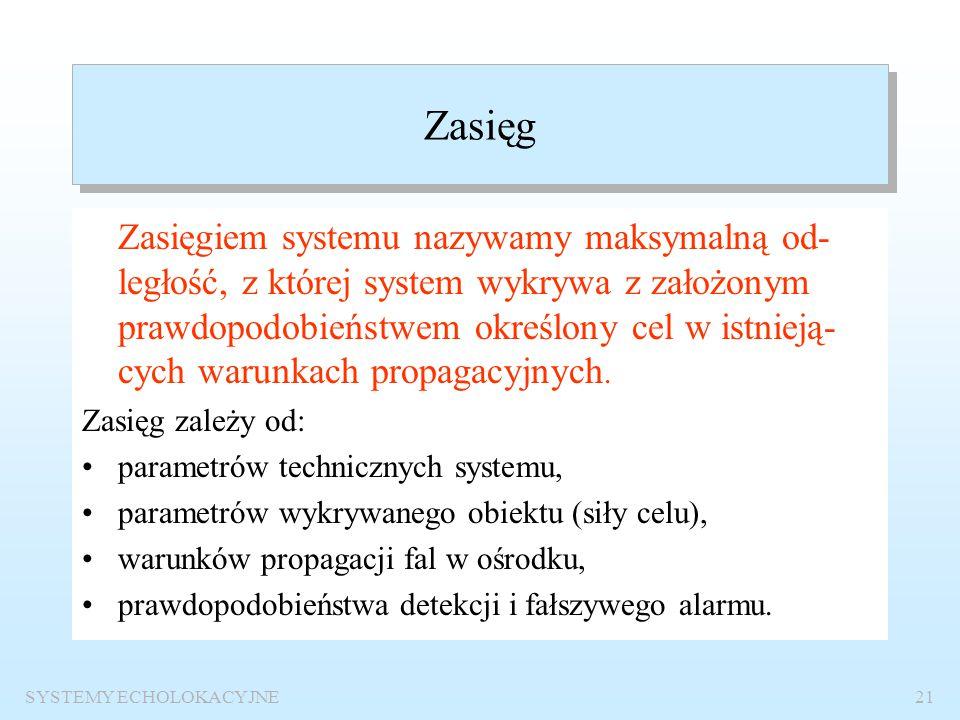SYSTEMY ECHOLOKACYJNE20 Podstawowe parametry eksploatacyjne systemów echolokacyjnych Zasięg Dokładność pomiaru odległości Dokładność określenia namiar