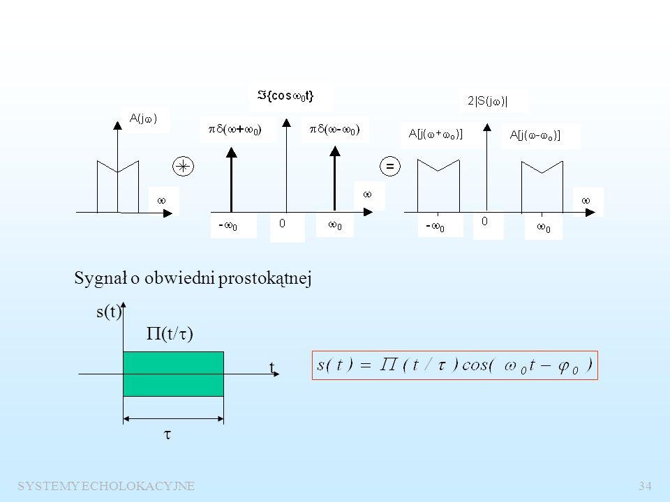 SYSTEMY ECHOLOKACYJNE33 Sygnał sinusoidalny o obwiedni prostokątnej Ogólny zapis sygnału wąskopasmowego Widmo sygnału