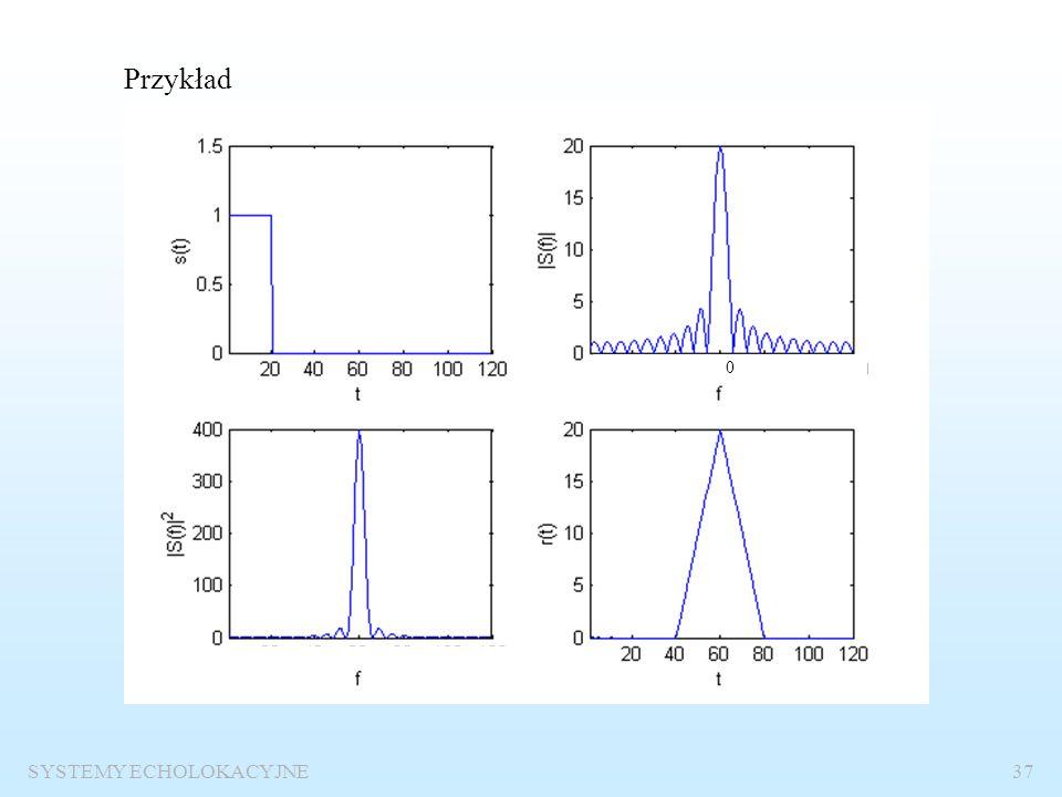 SYSTEMY ECHOLOKACYJNE36 Funkcja autokorelacji Definicja funkcji korelacji:: Definicja funkcji autokorelacji Widmo funkcji autokorelacjiEnergia sygnału