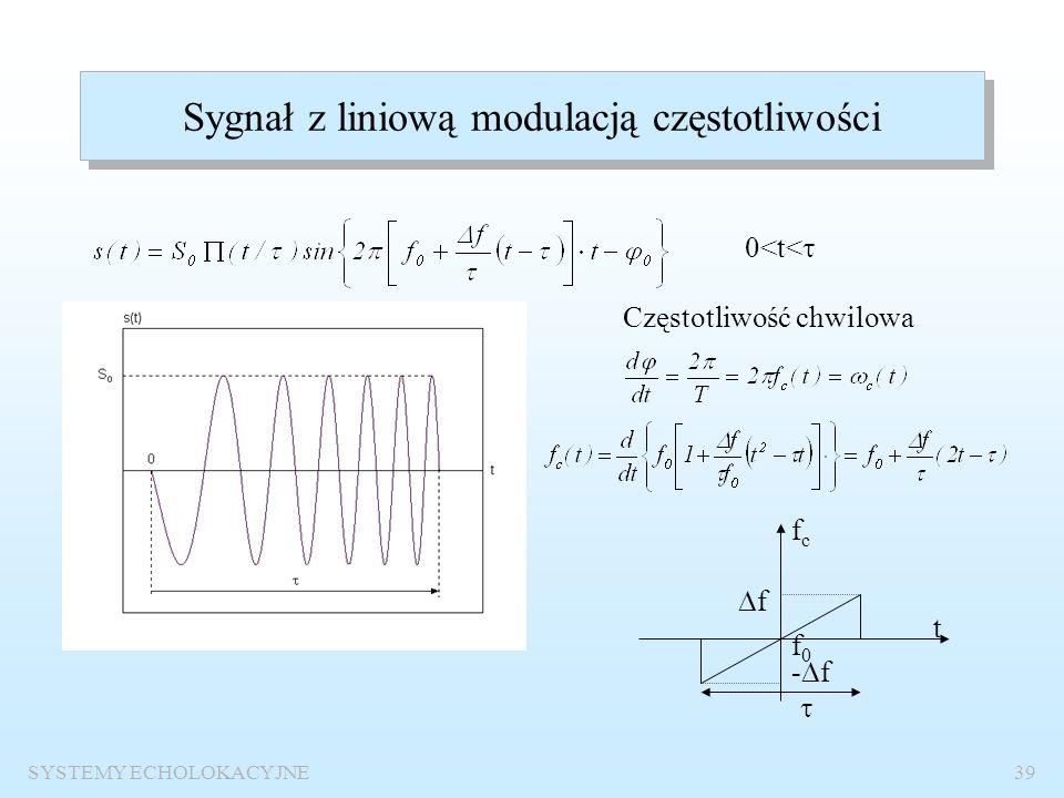 SYSTEMY ECHOLOKACYJNE38 Wyznaczanie funkcji autokorelacji sygnału sinusoidalnego o obwiedni prostokątnej