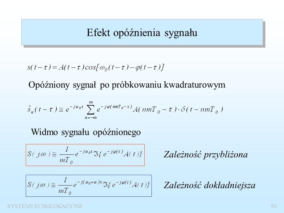SYSTEMY ECHOLOKACYJNE49 Widmo sygnału sinusoidalnego o obwiedni prostokątnej z odchyłką dopplerowską