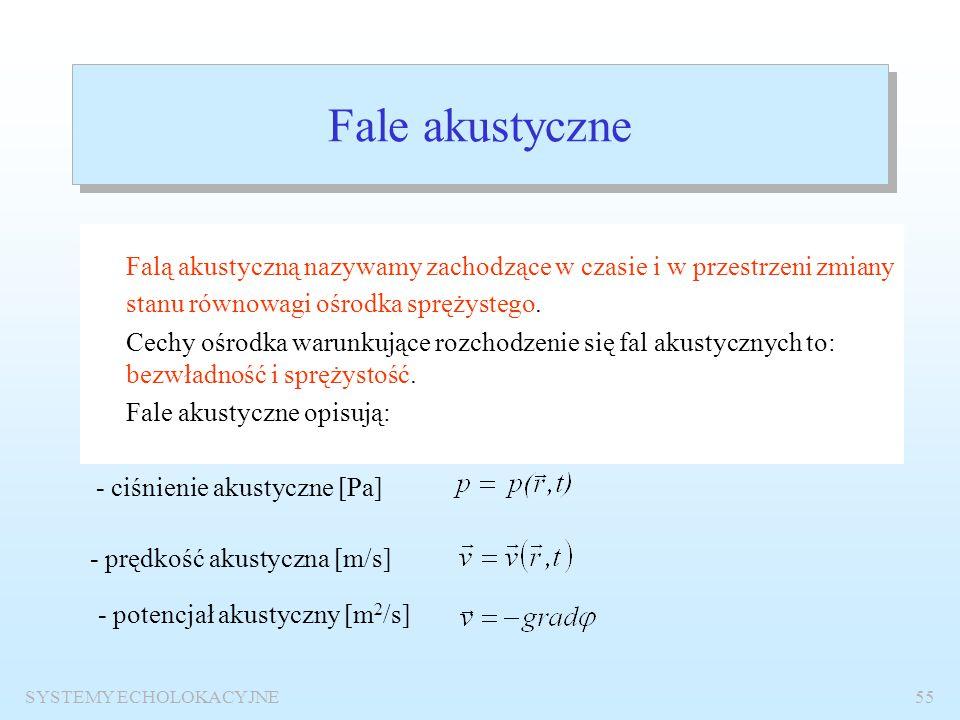 SYSTEMY ECHOLOKACYJNE54 Warunki niezachodzenia widma Przykład z rysunku: f 0 =45 kHz, B=8kHz, N  2.56. Obieramy zatem N=2 i obliczamy f s =(4/9)f 0 =