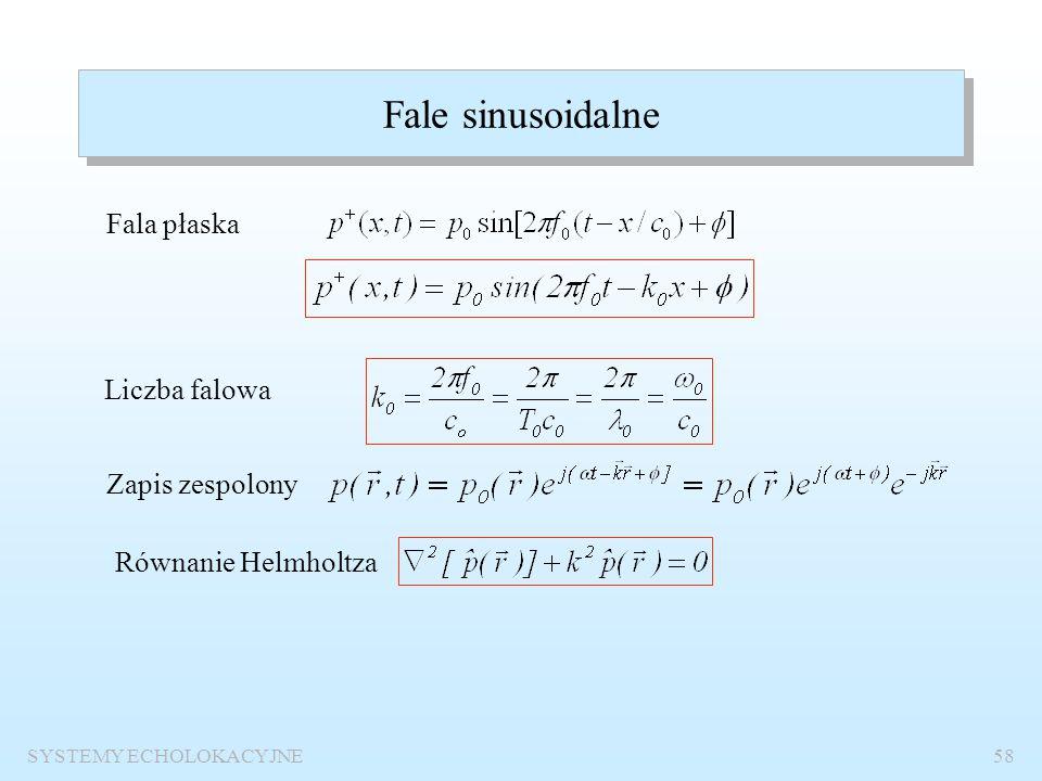 SYSTEMY ECHOLOKACYJNE57 Fale płaskie, cylindryczne i sferyczne Fala płaska Fala cylindryczna Fala sferyczna Charakterystyczna impedancja akustyczna Na