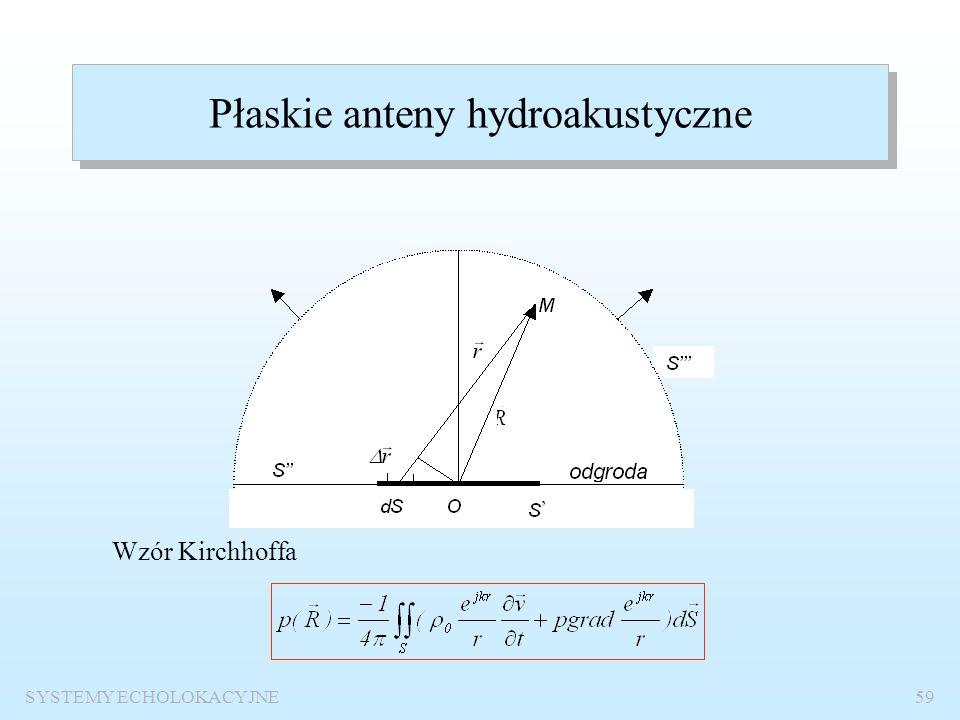 SYSTEMY ECHOLOKACYJNE58 Fale sinusoidalne Fala płaska Liczba falowa Zapis zespolony Równanie Helmholtza