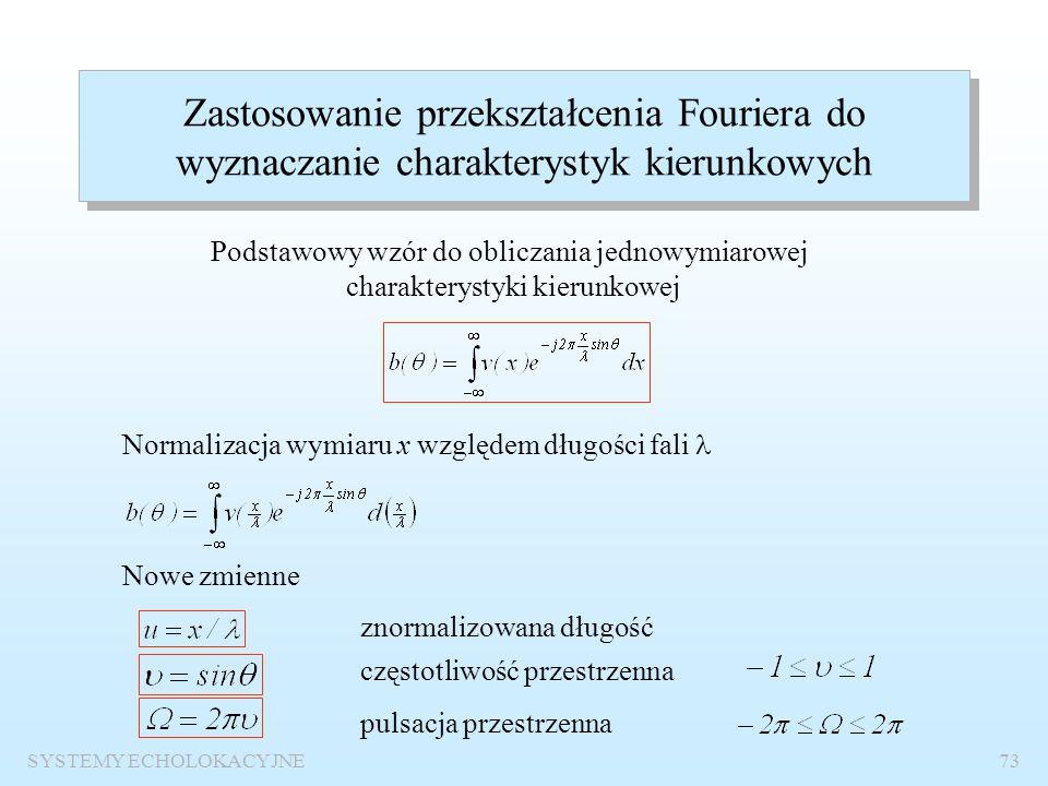 SYSTEMY ECHOLOKACYJNE72 Charakterystyka kierunkowa powierzchni kołowej Szerokość wiązki