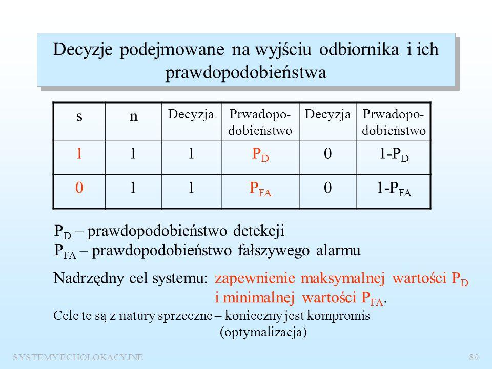 SYSTEMY ECHOLOKACYJNE88 Warunki detekcji s(t) – użyteczny sygnał echa – deterministyczny wariant 1 – sygnał w pełni znany wariant 2 – sygnał całkowici