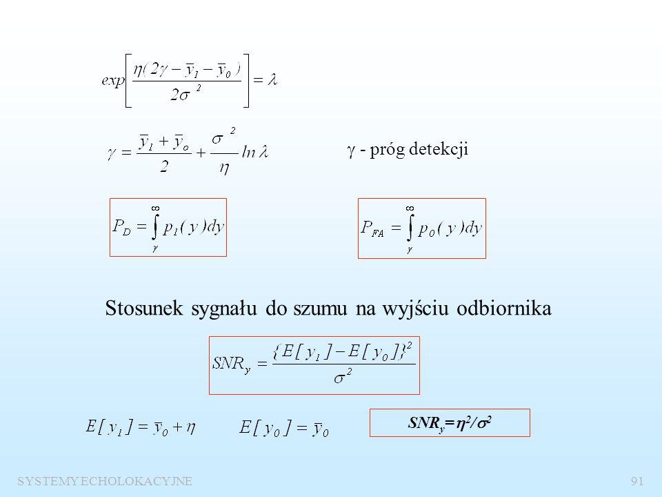 SYSTEMY ECHOLOKACYJNE90 Detekcja sygnału stałego na tle szumu gaussowskiego Kryterium Neymana-Pearsona p 1 (y) –rozkład prawdopodobieństwa sygnału na
