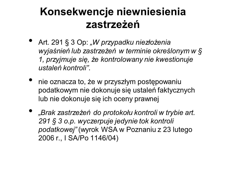 Konsekwencje niewniesienia zastrzeżeń Art.