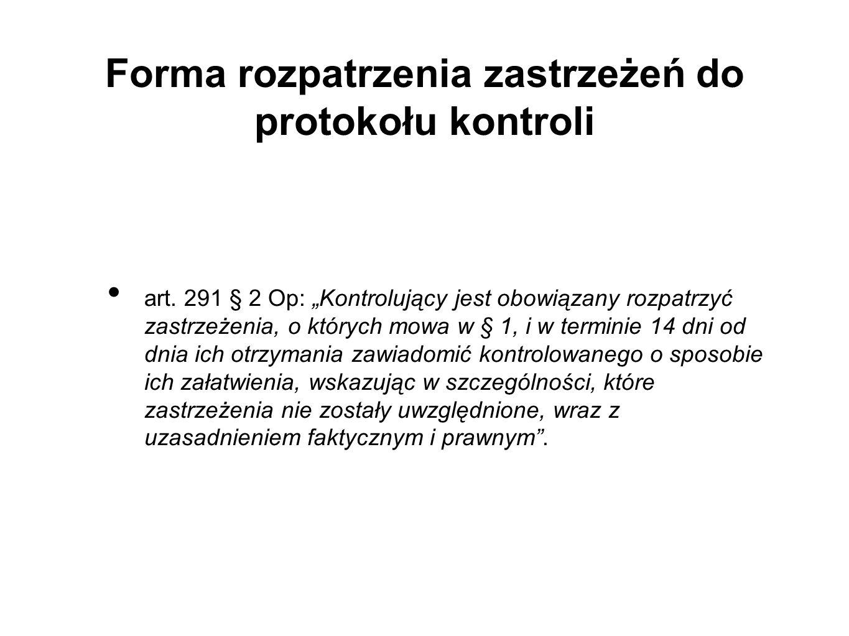 Forma rozpatrzenia zastrzeżeń do protokołu kontroli art.