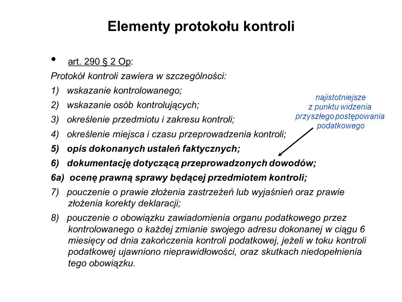 Elementy protokołu kontroli art.