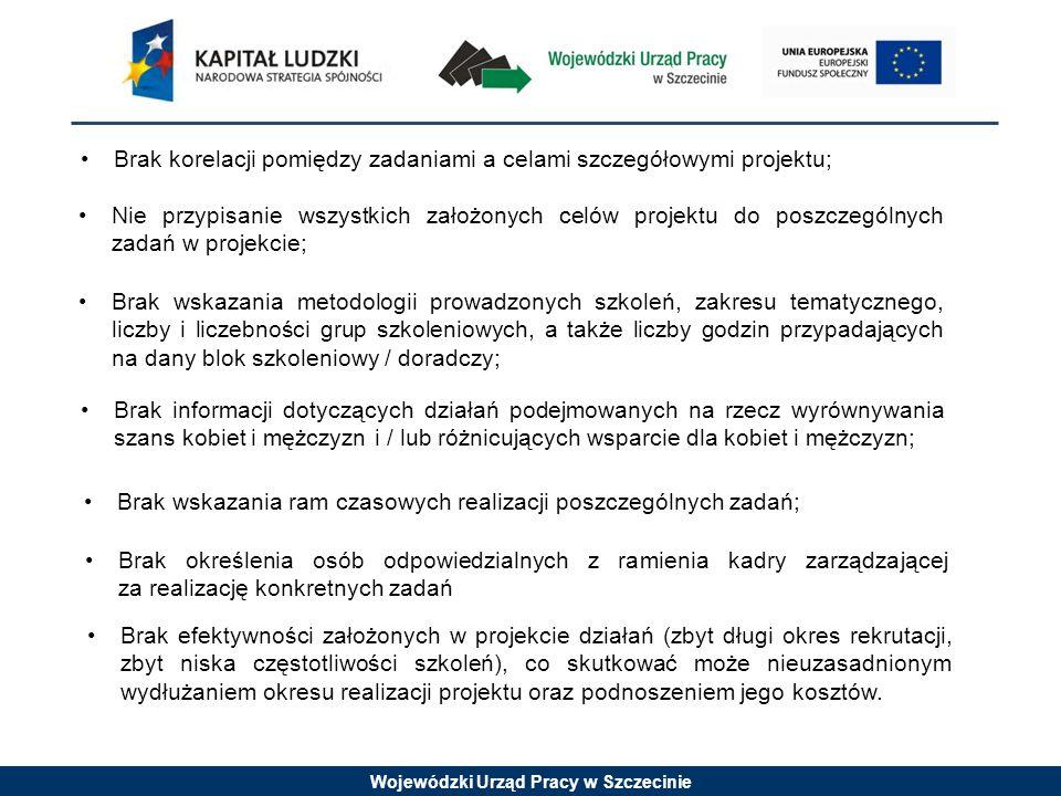 Wojewódzki Urząd Pracy w Szczecinie Brak korelacji pomiędzy zadaniami a celami szczegółowymi projektu; Nie przypisanie wszystkich założonych celów pro