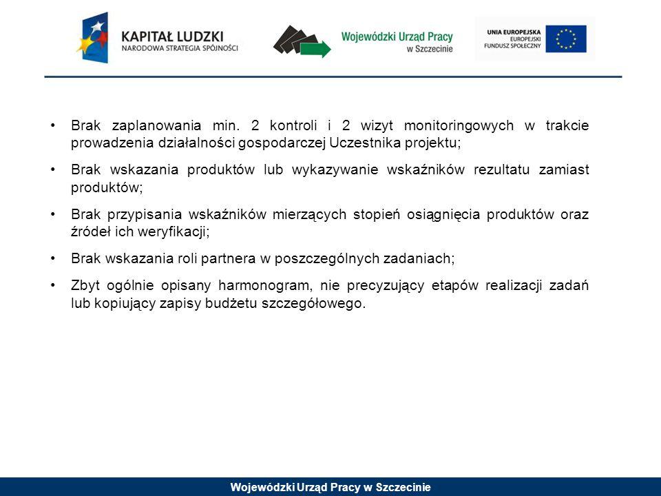Wojewódzki Urząd Pracy w Szczecinie Brak zaplanowania min. 2 kontroli i 2 wizyt monitoringowych w trakcie prowadzenia działalności gospodarczej Uczest