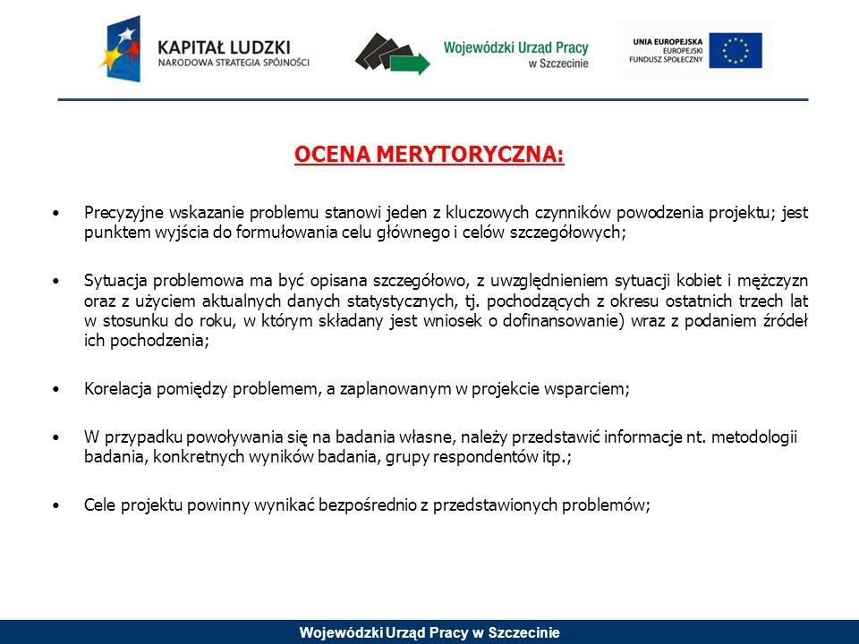 Wojewódzki Urząd Pracy w Szczecinie OCENA MERYTORYCZNA: Precyzyjne wskazanie problemu stanowi jeden z kluczowych czynników powodzenia projektu; jest p