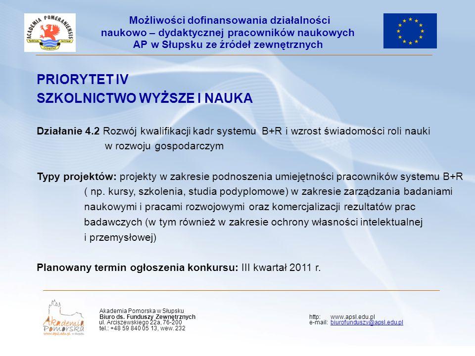 PRIORYTET IV SZKOLNICTWO WYŻSZE I NAUKA Działanie 4.2 Rozwój kwalifikacji kadr systemu B+R i wzrost świadomości roli nauki w rozwoju gospodarczym Typy projektów: projekty w zakresie podnoszenia umiejętności pracowników systemu B+R ( np.