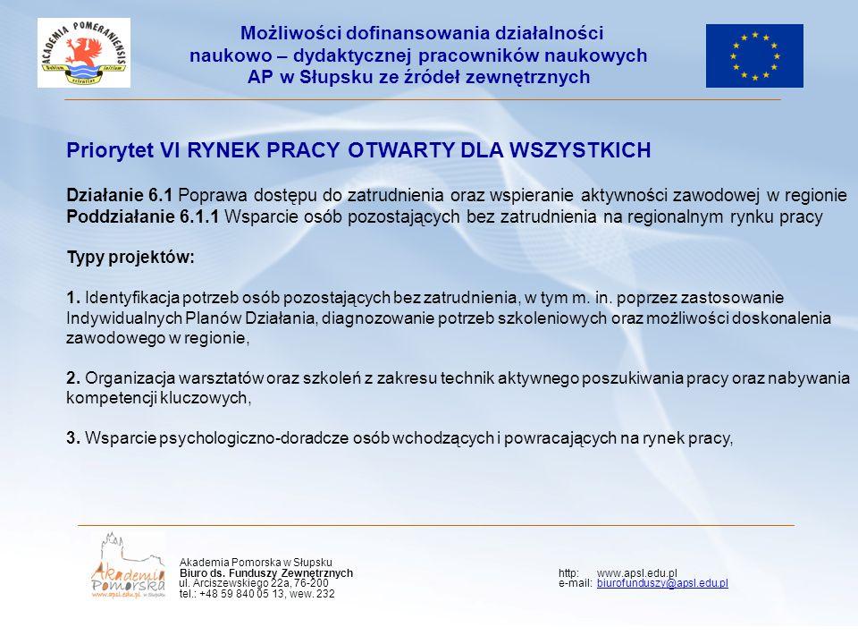 Priorytet VI RYNEK PRACY OTWARTY DLA WSZYSTKICH Działanie 6.1 Poprawa dostępu do zatrudnienia oraz wspieranie aktywności zawodowej w regionie Poddział