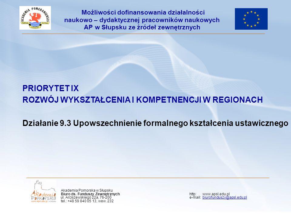 PRIORYTET IX ROZWÓJ WYKSZTAŁCENIA I KOMPETNENCJI W REGIONACH Działanie 9.3 Upowszechnienie formalnego kształcenia ustawicznego Możliwości dofinansowan