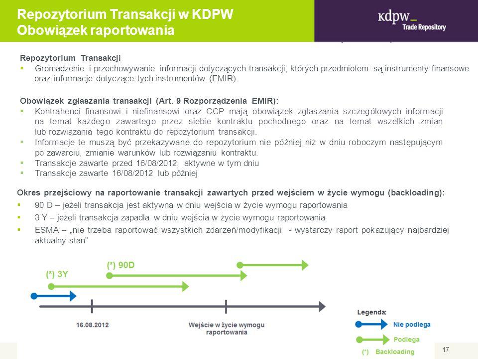 17 Obowiązek zgłaszania transakcji (Art. 9 Rozporządzenia EMIR):  Kontrahenci finansowi i niefinansowi oraz CCP mają obowiązek zgłaszania szczegółowy
