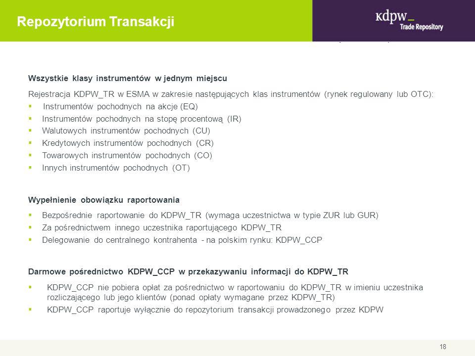 Repozytorium Transakcji Wszystkie klasy instrumentów w jednym miejscu Rejestracja KDPW_TR w ESMA w zakresie następujących klas instrumentów (rynek reg