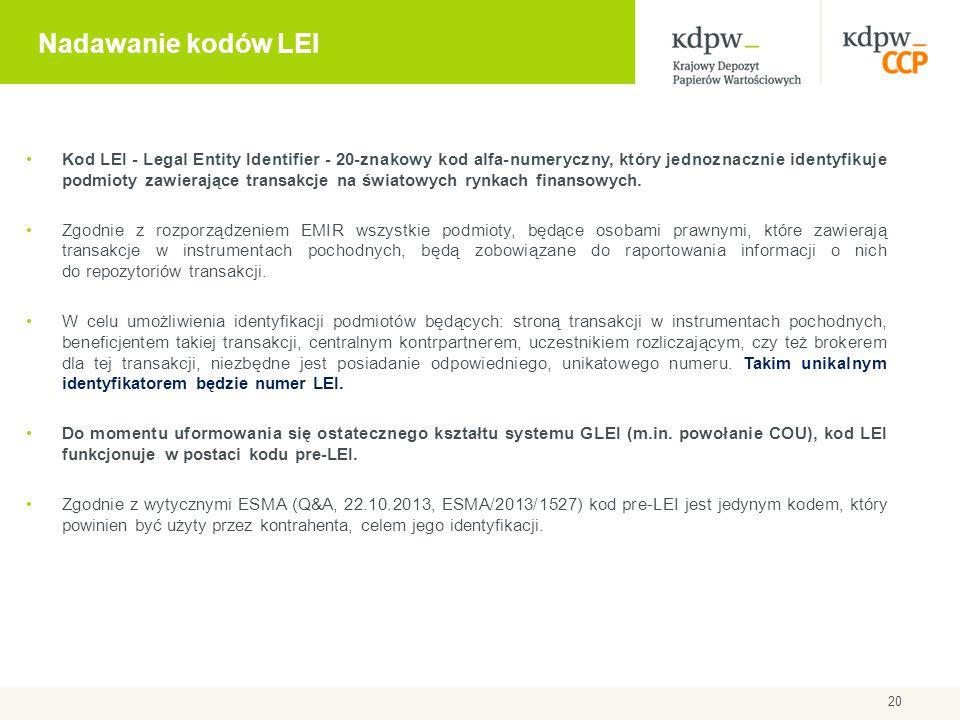 Nadawanie kodów LEI Kod LEI - Legal Entity Identifier - 20-znakowy kod alfa-numeryczny, który jednoznacznie identyfikuje podmioty zawierające transakc