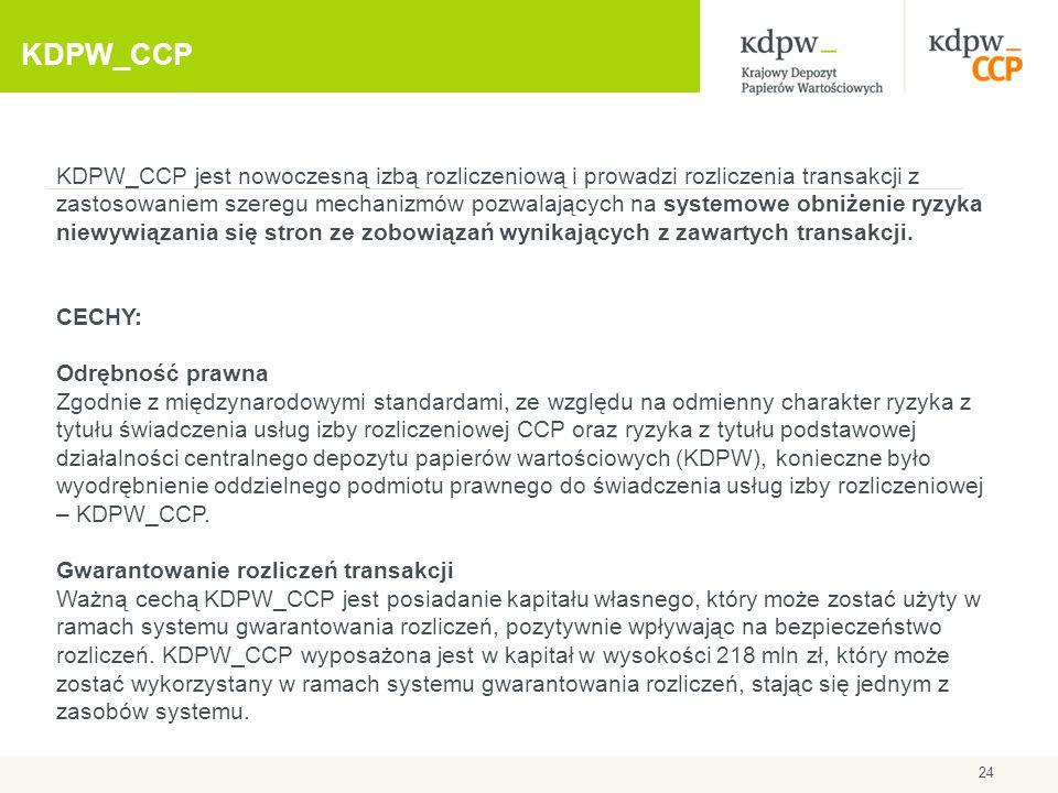 KDPW_CCP KDPW_CCP jest nowoczesną izbą rozliczeniową i prowadzi rozliczenia transakcji z zastosowaniem szeregu mechanizmów pozwalających na systemowe