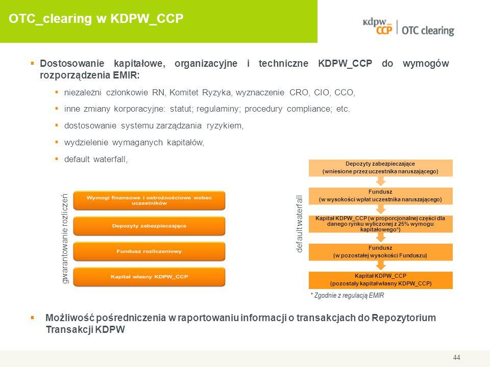 OTC_clearing w KDPW_CCP 44  Dostosowanie kapitałowe, organizacyjne i techniczne KDPW_CCP do wymogów rozporządzenia EMIR:  niezależni członkowie RN,