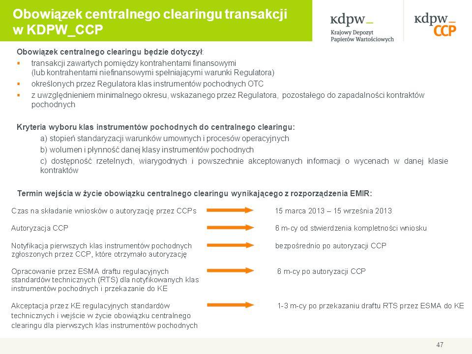 47 Obowiązek centralnego clearingu transakcji w KDPW_CCP Obowiązek centralnego clearingu będzie dotyczył:  transakcji zawartych pomiędzy kontrahentam