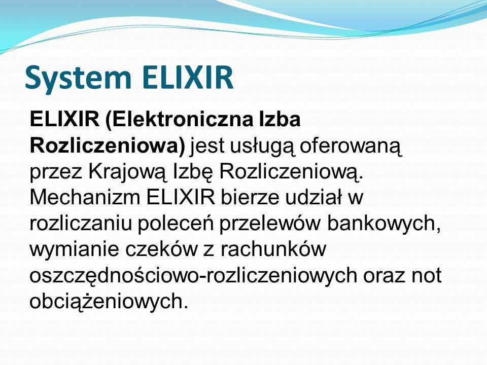 System ELIXIR ELIXIR (Elektroniczna Izba Rozliczeniowa) jest usługą oferowaną przez Krajową Izbę Rozliczeniową.