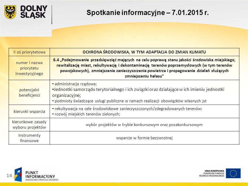14 Spotkanie informacyjne – 7.01.2015 r.