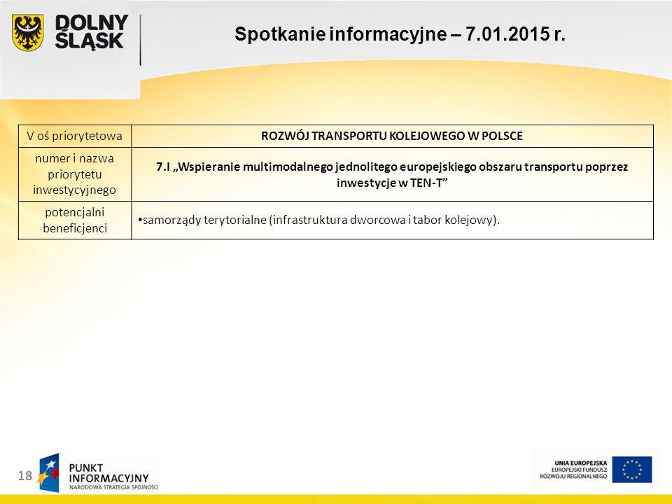 18 Spotkanie informacyjne – 7.01.2015 r.