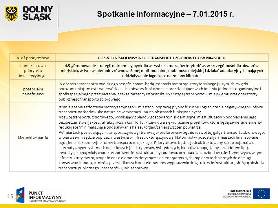 15 Spotkanie informacyjne – 7.01.2015 r.