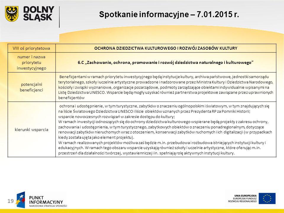 19 Spotkanie informacyjne – 7.01.2015 r.