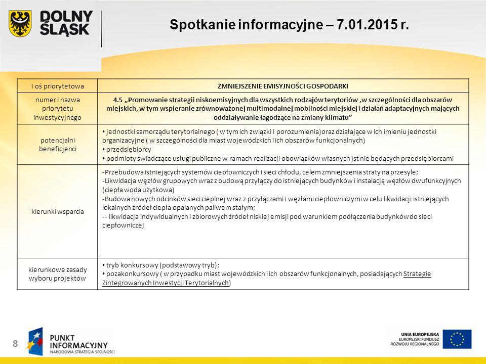 9 Spotkanie informacyjne – 7.01.2015 r.