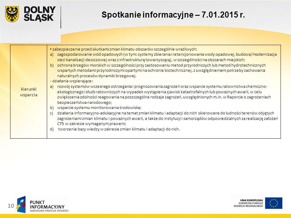 11 Spotkanie informacyjne – 7.01.2015 r.