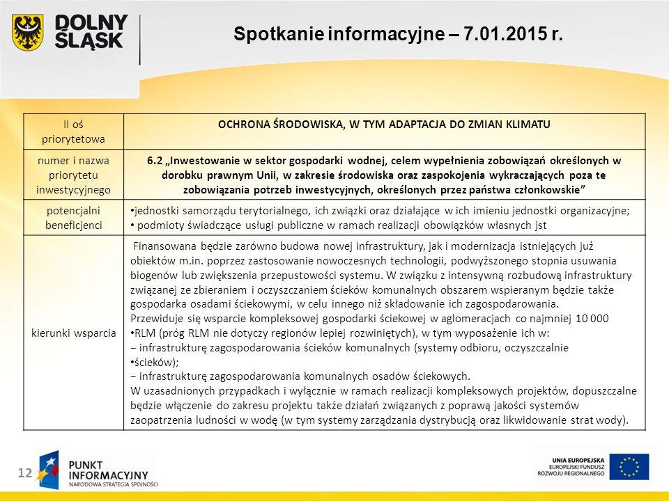 13 Spotkanie informacyjne – 7.01.2015 r.