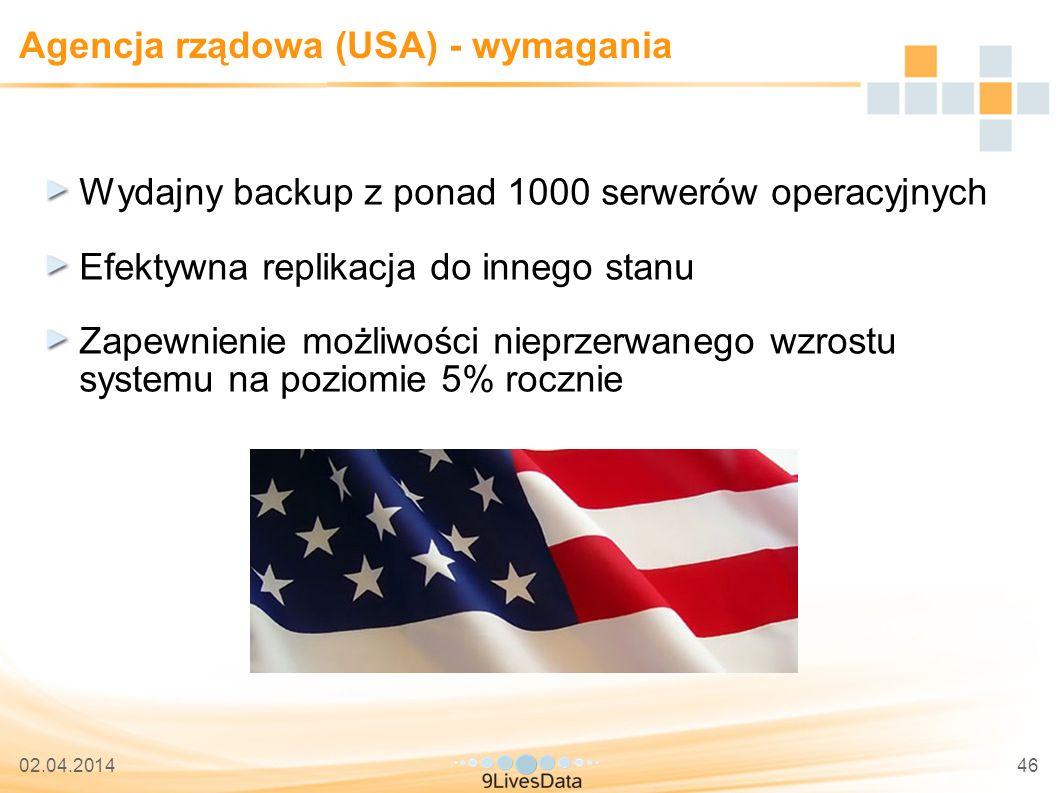 02.04.201446 Agencja rządowa (USA) - wymagania Wydajny backup z ponad 1000 serwerów operacyjnych Efektywna replikacja do innego stanu Zapewnienie możliwości nieprzerwanego wzrostu systemu na poziomie 5% rocznie