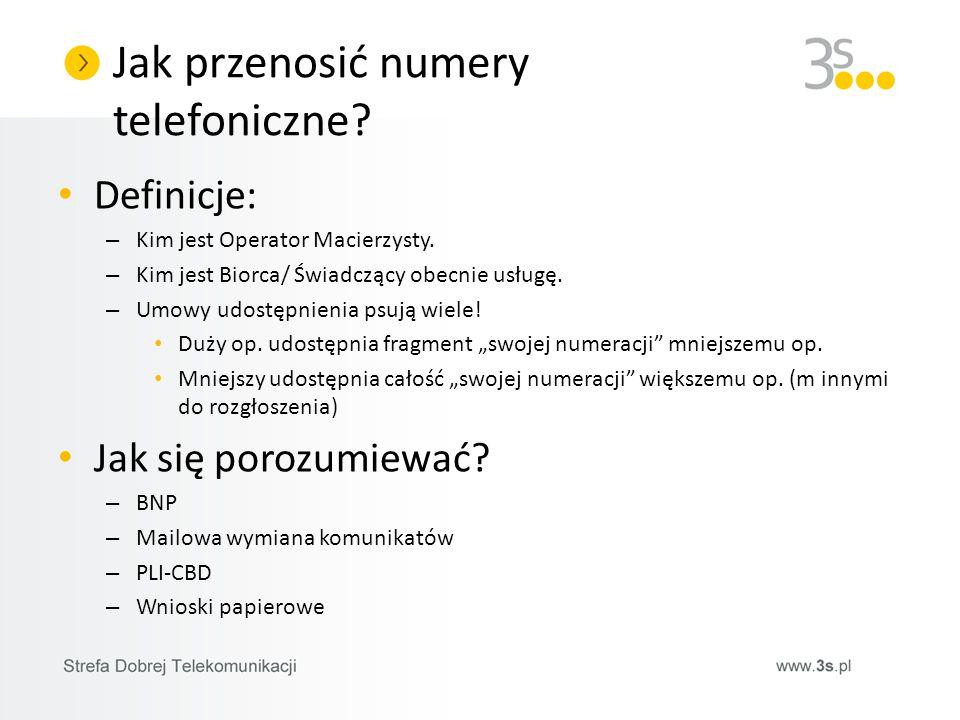 Jak przenosić numery telefoniczne? Definicje: – Kim jest Operator Macierzysty. – Kim jest Biorca/ Świadczący obecnie usługę. – Umowy udostępnienia psu