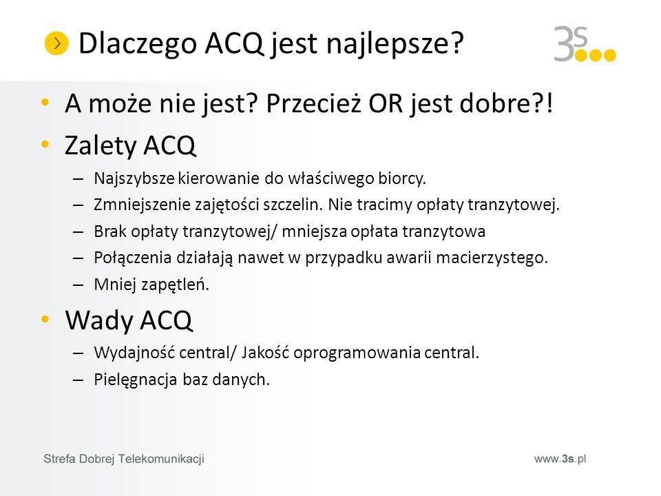 Dlaczego ACQ jest najlepsze? A może nie jest? Przecież OR jest dobre?! Zalety ACQ – Najszybsze kierowanie do właściwego biorcy. – Zmniejszenie zajętoś