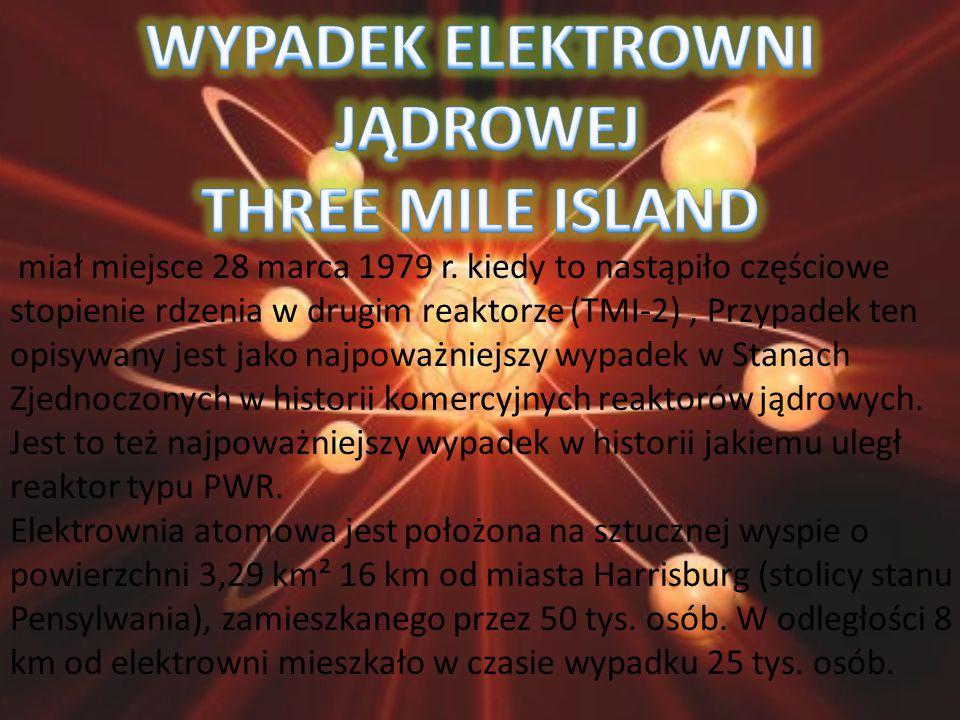 miał miejsce 28 marca 1979 r. kiedy to nastąpiło częściowe stopienie rdzenia w drugim reaktorze (TMI-2), Przypadek ten opisywany jest jako najpoważnie
