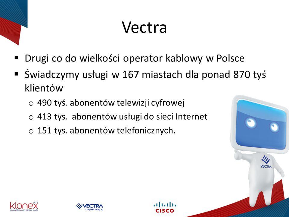 Sieć szkieletowa  Obejmuje swoim zasięgiem 90 % zasobów Vectra  Transportuje wszystkie usługi świadczone przez Vectra: o Wideo o Data o VoIP o VoD (Video-on-Demand)  Działa w oparciu o IP/MPLS  Siec zbudowana w oparciu o rozwiązania Cisco oraz Juniper: o Cisco ASR9010 28 szt.