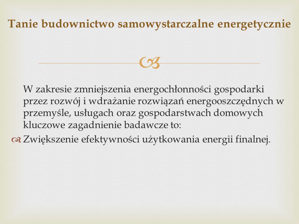  W zakresie zmniejszenia energochłonności gospodarki przez rozwój i wdrażanie rozwiązań energooszczędnych w przemyśle, usługach oraz gospodarstwach d