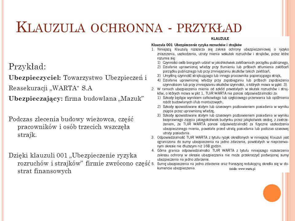 """K LAUZULA OCHRONNA - PRZYKŁAD Przykład: Ubezpieczyciel: Towarzystwo Ubezpieczeń i Reasekuracji """"WARTA"""